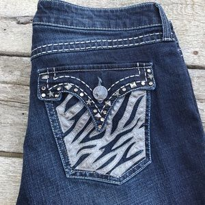 Wrangler Rock 47 Ladies Jeans 11X34 Zebra Pockets